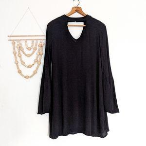 Black Cutout Choker Bell Sleeve Woven Shift Dress